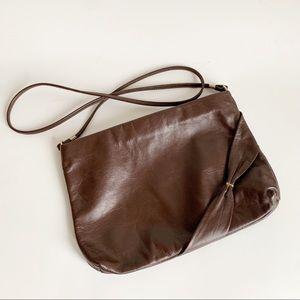 Vintage Leather Brown Gold Shoulder Bag Purse